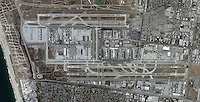 historical aerial photo map of Los Angeles International Airport,  LAX, Los Angeles, California, 2005.  For more recent aerial photography of LAX, please contact Aerial Archives.