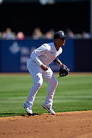 New York Yankees shortstop Gleyber Torres (25) during a Spring Training game against the Toronto Blue Jays on February 22, 2020 at the George M. Steinbrenner Field in Tampa, Florida.  (Mike Janes/Four Seam Images)