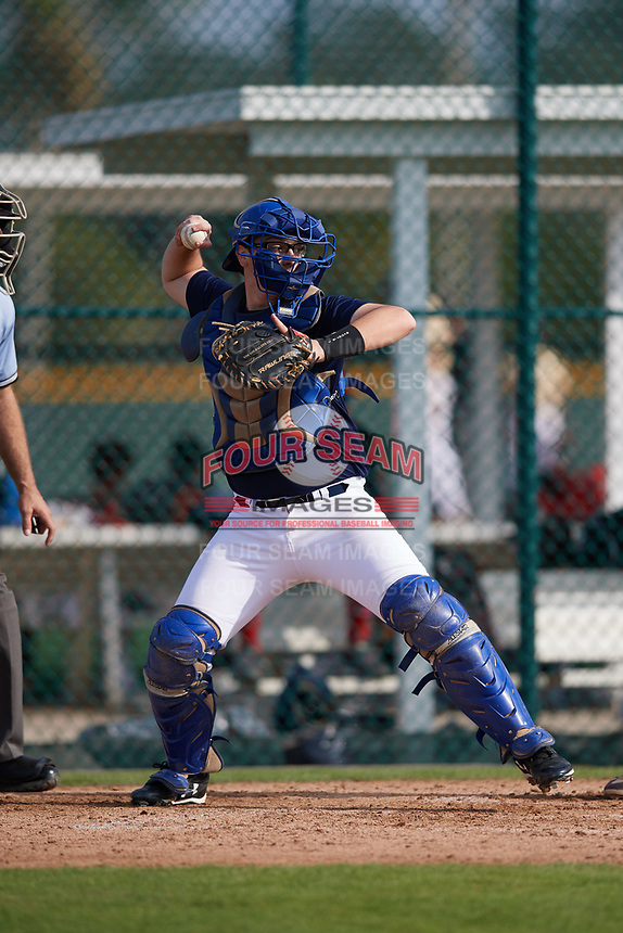 Henry Puopolo (63), from New York, New York, while playing for the Padres during the Baseball Factory Pirate City Christmas Camp & Tournament on December 29, 2017 at Pirate City in Bradenton, Florida.  (Mike Janes/Four Seam Images)