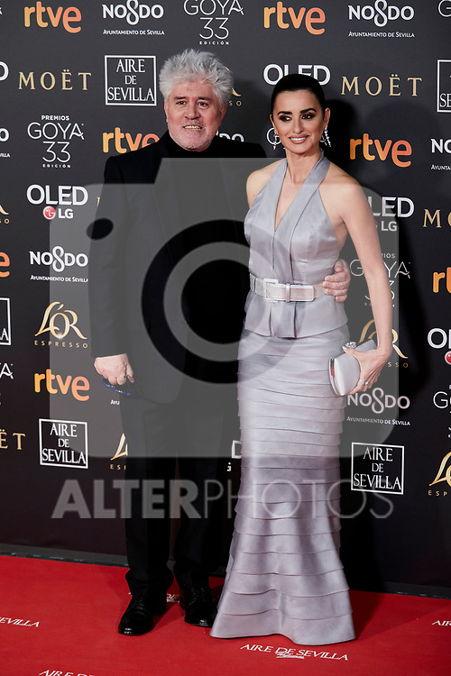 Pedro Almodovar and Penelope Cruz attends to 33rd Goya Awards at Fibes - Conference and Exhibition  in Seville, Spain. February 02, 2019. (ALTERPHOTOS/A. Perez Meca)