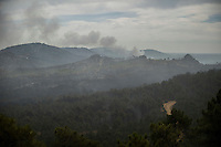 General view of the wildfire in Tabuyo del Monte near Leon on August 20, 2012. Numerous wildfires have broken out across Spain in the sweltering heat in recent weeks, an extra headache for authorities struggling to get the country out of its financial crisis and recession. © Pedro ARMESTRE