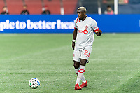 FOXBOROUGH, MA - OCTOBER 7: Chris Mavinga #23 of Toronto FC passes the ball during a game between Toronto FC and New England Revolution at Gillette Stadium on October 7, 2020 in Foxborough, Massachusetts.