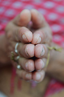 """INDIA-TRIPURA-TARPAN-PRAYER-HINDUSIUM<br /> Indian Hindu devotees performs Tarpan, a ritual to pay obeisance to one's forefathers on the last day for offering prayers to ancestors called Pitritarpan in Tripura, India, on 8th Oct, 2018.<br /> <br /> In Hindu mythology, this day is also called """"Mahalaya"""" and described as the day when the Gods created the ten armed Goddess Durga to destroy the demon king Asur who plotted to drive out the gods from their kingdom. The five-day period of worship of Durga, who is attributed as the destroyer of evil. <br /> <br /> PHOTO : agence Quebec Presse - Abhisek Saha"""