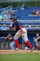 Lowell Spinners first baseman Juan Barriento (44) at bat during a game against the Batavia Muckdogs on July 12, 2017 at Dwyer Stadium in Batavia, New York.  Batavia defeated Lowell 7-2.  (Mike Janes/Four Seam Images)