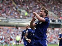 29th August 2021; Turf Moor, Burnley, Lancashire, England; Premier League football, Burnley versus Leeds United: Patrick Bamford of Leeds United celebrates his equalising goal after 85 minutes