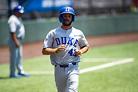 Duke Blue Devils designated hitter Chase Cheek (43) jogs home against the Wright State Raiders in NCAA Regional play on Robert M. Lindsay Field at Lindsey Nelson Stadium on June 5, 2021, in Knoxville, Tennessee. (Danny Parker/Four Seam Images)