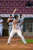 Cedar Rapids Kernels third baseman T.J. White (16) at bat during a game against the Kane County Cougars on August 18, 2015 at Perfect Game Field in Cedar Rapids, Iowa.  Kane County defeated Cedar Rapids 1-0.  (Mike Janes/Four Seam Images)