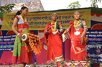 Nepal, Dang. Tharu Girls, former Kumlari celebrating their freedom.