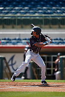 Jupiter Hammerheads shortstop Jose Devers (1) at bat during a Florida State League game against the Florida Fire Frogs on April 11, 2019 at Osceola County Stadium in Kissimmee, Florida.  Jupiter defeated Florida 2-0.  (Mike Janes/Four Seam Images)