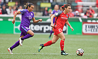 Portland, OR - Saturday October 07, 2017: Marta Vieira Da Silva, Hayley Raso during a National Women's Soccer League (NWSL) semifinals match between the Portland Thorns FC and the Orlando Pride at Providence Park.
