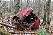 Abandoned truck in the Clay Brook drainage in Easton, New Hampshire USA during the spring months.