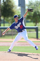 Zack Greinke #21 of the Los Angeles Dodgers pitches during a Minor League Spring Training Game against the Cleveland Indians at the Los Angeles Dodgers Spring Training Complex on March 22, 2014 in Glendale, Arizona. (Larry Goren/Four Seam Images)