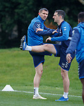 02.04.2019 Rangers training: Gareth McAuley and Lee Wallace