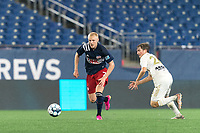 FOXBOROUGH, MA - AUGUST 5: Connor Presley #7 of New England Revolution II brings the ball forward during a game between North Carolina FC and New England Revolution II at Gillette Stadium on August 5, 2021 in Foxborough, Massachusetts.