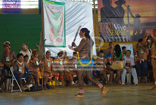 """Altamira, Brazil. """"Xingu Vivo Para Sempre"""" protest meeting about the proposed Belo Monte hydroeletric dam and other dams on the Xingu river and its tributaries. Tuira showing solidarity with the Upper Xingu tribes."""