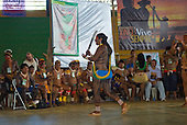"Altamira, Brazil. ""Xingu Vivo Para Sempre"" protest meeting about the proposed Belo Monte hydroeletric dam and other dams on the Xingu river and its tributaries. Tuira showing solidarity with the Upper Xingu tribes."