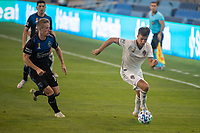 SAN JOSE, CA - SEPTEMBER 05: Jackson Yueill #14 chases Cole Bassett #26 during a game between Colorado Rapids and San Jose Earthquakes at Earthquakes Stadium on September 05, 2020 in San Jose, California.