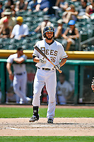 Anthony Bemboom (36) of the Salt Lake Bees at bat against the El Paso Chihuahuas in Pacific Coast League action at Smith's Ballpark on July 10, 2016 in Salt Lake City, Utah. El Paso defeated Salt Lake 11-2. (Stephen Smith/Four Seam Images)