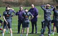 Pictured L-R: Coaches Gary Richards and Cameron Toshack brief their players Friday 24 March 2017<br /> Re: Swansea City U23 training ahead of their International Cup game against Porto, Fairwood training ground, UK