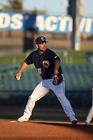 Jose Hernandez (35) of the Lancaster JetHawks pitches against the Rancho Cucamonga Quakes at The Hanger on September 1, 2016 in Lancaster, California. Rancho Cucamonga defeated Lancaster, 6-3. (Larry Goren/Four Seam Images)
