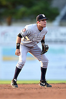 Staten Island Yankees shortstop Vicente Conde (12) during a game against the Batavia Muckdogs on August 8, 2014 at Dwyer Stadium in Batavia, New York.  Staten Island defeated Batavia 4-2.  (Mike Janes/Four Seam Images)