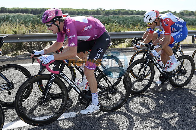 Maglia Ciclamino French Champion Arnaud Demare (FRA) Groupama-FDJ in the front group during Stage 7 of the 103rd edition of the Giro d'Italia 2020 running 143km from Matera to Brindisi, Sicily, Italy. 9th October 2020.  <br /> Picture: LaPresse/Fabio Ferrari | Cyclefile<br /> <br /> All photos usage must carry mandatory copyright credit (© Cyclefile | LaPresse/Fabio Ferrari)