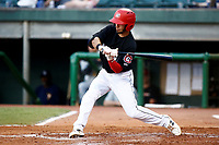 Alex Perez (2) of the Chattanooga Lookouts swings at a thrown ball during the game against the Montgomery biscuits on May 26, 2018 at AT&T Field in Chattanooga, Tennessee. (Andy Mitchell/Four Seam Images)
