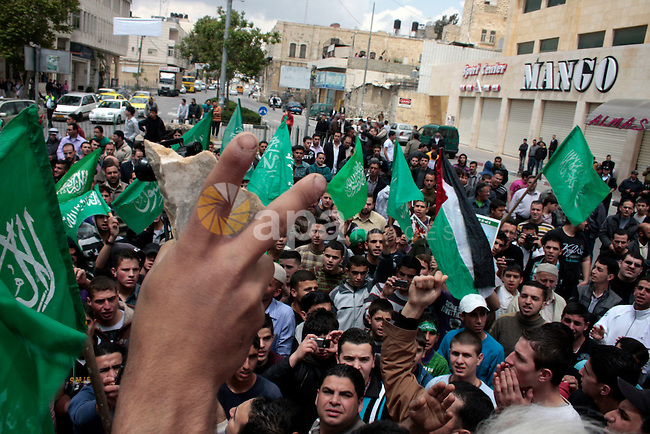 """Palestinian parliament speaker, Aziz Dweik and Hamas members of the Palestinian Legislative Council (PLC) take part in a rally to mark the 63th anniversary of """"Nakba"""" (catastrophe) on May 13, 2011 in the West Bank city of Hebron. Nakba means """"catastrophe"""" in reference to the birth of the state of Israel 63 years ago in British-mandate Palestine, which led to the displacement of hundreds of thousands of Palestinians who either fled or were driven out of their homes during the 1948 war over Israel's creation. Photo by Najeh Hashlamoun...Palestinians attend a rally in front of the church of Nativity in the West Bank city of Bethlehem, May 12, 2011, to mark the 63rd anniversary of al-Nakba Day when Israeli forces had ousted thousands of Palestinian families from their homes and established the Jewish state on May 15, 1948. Photo by Najeh Hashlamoun /Flash 90"""