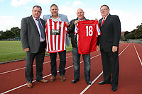 Hornchurch Chairman Colin McBride (L) with new kit sponsors Mark Burford (2nd L) and Colin Burford of 'The Ring' - AFC Hornchurch vs Farnborough - Blue Square Conference South Football at The Stadium, Upminster Bridge, Essex - 29/09/12 - MANDATORY CREDIT: Gavin Ellis/TGSPHOTO - Self billing applies where appropriate - 0845 094 6026 - contact@tgsphoto.co.uk - NO UNPAID USE
