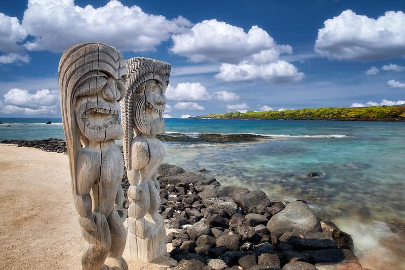 Totems at Pu`uhonua O Hōnaunau National Historical Park, Hawai'i (The Big Island)
