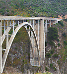 Bridge on California Highway 1 along the Big Sur Pacific Ocean coastline south of Carmel, California spans Rocky Creek.