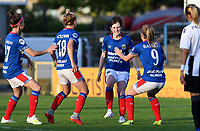 20190810 - DENDERLEEUW, BELGIUM : Linfield's players pictured celebrating their late goal from Kirsty McGuinness and the 2-3 lead during the female soccer game between the Greek PAOK Thessaloniki Ladies FC and the Northern Irish Linfield ladies FC , the second game for both teams in the Uefa Womens Champions League Qualifying round in group 8 , Wednesday 7 th August 2019 at the Van Roy Stadium in Denderleeuw  , Belgium  .  PHOTO SPORTPIX.BE | DAVID CATRY