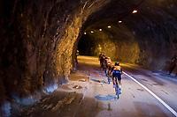 Yukiya Arashiro (JAP/Bahrain-Merida) closing the line inside a rock tunnel<br /> <br /> stage 7: Aoste > Alpe d'Huez (168km)<br /> 69th Critérium du Dauphiné 2017