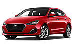 Stock pictures of low aggressive front three quarter view of a 2018 Hyundai i30 Fastback Shine 5 Door Hatchback
