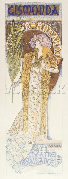 Sarah Bernhardt (1844-1923) as Gismonda at the Theatre de la Renaissance, 1894 (colour litho), Mucha, Alphonse Marie (1860-1939)