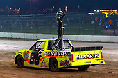 NASCAR Camping World Truck Series<br /> Eldora Dirt Derby<br /> Eldora Speedway, Rossburg, OH USA<br /> Wednesday 19 July 2017<br /> Matt Crafton, Ideal Door / Menards Toyota Tundra celebrates his win <br /> World Copyright: Russell LaBounty<br /> LAT Images