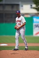 Auburn Doubledays starting pitcher Francys Peguero (38) gets ready to deliver a pitch during a game against the Batavia Muckdogs on September 1, 2018 at Dwyer Stadium in Batavia, New York.  Auburn defeated Batavia 10-5.  (Mike Janes/Four Seam Images)