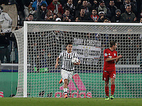 Calcio, andata degli ottavi di finale di Champions League: Juventus vs Bayern Monaco. Torino, Juventus Stadium, 23 febbraio 2016. <br /> Juventus' Paulo Dybala reacts after scoring during the Champions League first leg round of 16 football match between Juventus and Bayern at Turin's Juventus Stadium, 23 February 2016.<br /> UPDATE IMAGES PRESS/Isabella Bonotto