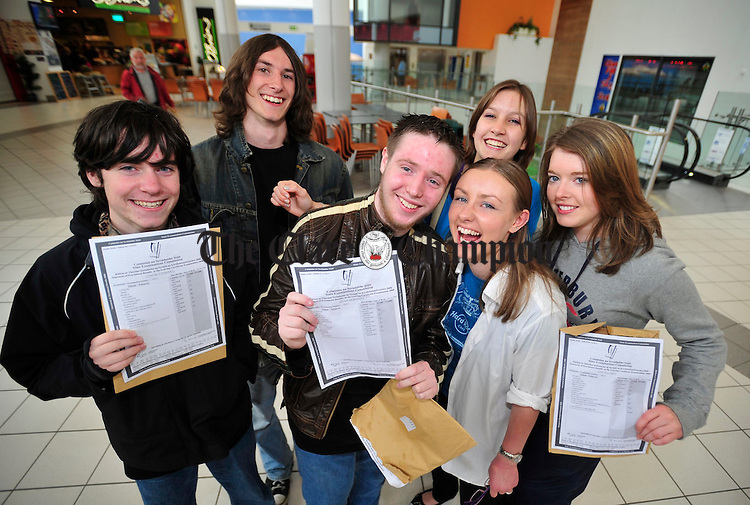 Conor O' Donnell, David Parke, Adam Mc Kinney, Kim Jones, Meghan Halton and Lisa Fogarty pictured at Shannon Town Centre on Wednesday after receiving their Leaving Cert Results. Photograph by Declan Monaghan
