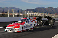 Feb. 15, 2013; Pomona, CA, USA; NHRA funny car driver Bob Tasca III during qualifying for the Winternationals at Auto Club Raceway at Pomona. Mandatory Credit: Mark J. Rebilas-
