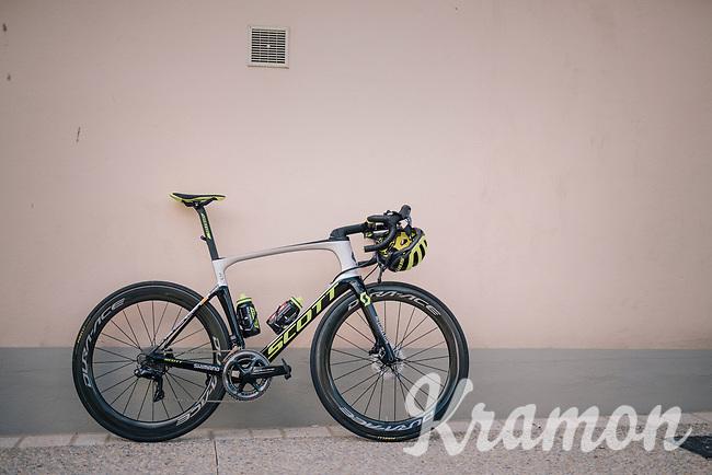 Mathew Haymen's (AUS/Mitchelton Scott) brand new Scott Foil RC; ready for it's maiden voyage<br /> <br /> D-1: last preperations 1 day before the start of the race<br /> <br /> Team Mitchelton-Scott going for a coffee-ride<br /> <br /> Le Grand Départ 2018<br /> 105th Tour de France 2018<br /> ©kramon