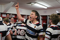 MCB vs Wallace High School | Thursday 5th March 2015<br /> <br /> Wallace captain Sam Moore leads the celebrations after  the 2015 Ulster Schools Cup Semi-Final between Methody and Wallace High School at the Kingspan Stadium, Ravenhill Park, Belfast, Northern Ireland.<br /> <br /> Picture credit: John Dickson / DICKSONDIGITAL