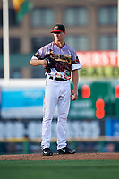 Rochester Red Wings starting pitcher Stephen Gonsalves (23) looks in for the sign during a game against the Lehigh Valley IronPigs on June 29, 2018 at Frontier Field in Rochester, New York.  Lehigh Valley defeated Rochester 2-1.  (Mike Janes/Four Seam Images)