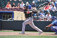 Nashville Sounds Renato Nunez (34) swings during the Pacific Coast League game against the Omaha Storm Chasers at Werner Park on June 5, 2016 in Omaha, Nebraska.  Omaha won 6-4.  (Dennis Hubbard/Four Seam Images)