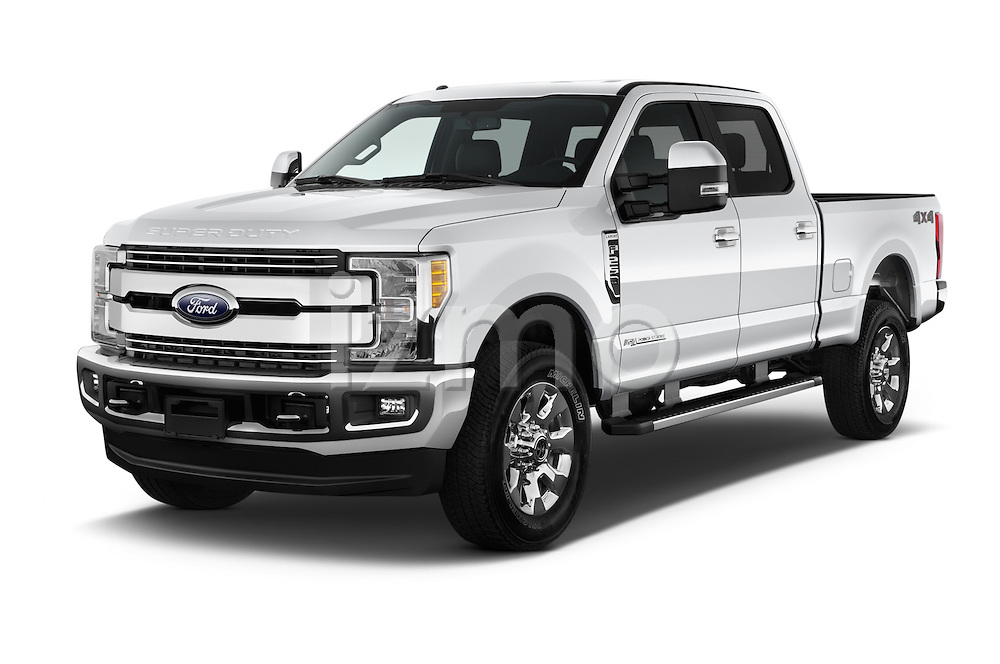 2017 Ford F-250 Lariat-Crew-Cab 4 Door Pickup Angular Front stock photos of front three quarter view