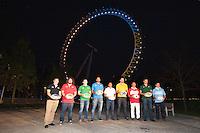 The London Eye is the backdrop for the launch of the Rugby World Cup England 2015 with L-R Andrew Mehrtens (New Zealand), Adam Jones (Wales), Gordon D'Arcy (Ireland), Marco Bortolami (Italy), Jason Robinson (England), James Horwill (Australia), Masaaki Sakata (Japan), Bob Skinstad (South Africa), Gonzalo Camacho (Argentina) - 15/09/2015 - London Eye - London <br /> Mandatory Credit: Rob Munro/Stewart Communications