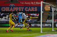 2nd January 2021; Liberty Stadium, Swansea, Glamorgan, Wales; English Football League Championship Football, Swansea City versus Watford; Jamal Lowe of Swansea City wins the header and scores his sides second goal in the 68th minute to make the score 2-1