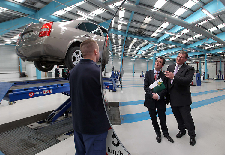 .Minister for Transport, Noel Dempsey T.D. (left) Grant Henderson, Managing Director of Applus+, pictured here during an NCT inspection of a car  at the new NCT facility located at Greenhills, Tallaght, Dublin operated by new provider Applus+. Pic. Robbie Reynolds/CPR.