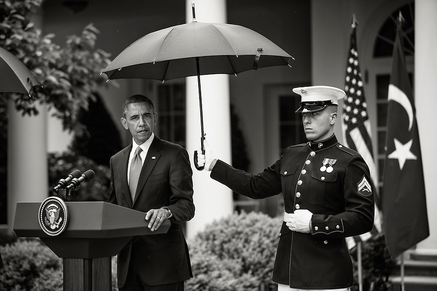 U.S. President Barack Obama holds a news conference with Turkish Prime Minister Recep Tayyip Erdoganin  Rose Garden at the White House in Washington.