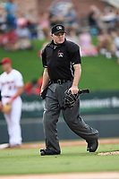 Home plate umpire Jacob Botek works a game between the Charleston RiverDogs and Greenville Drive on Thursday, July 27, 2017, at Fluor Field at the West End in Greenville, South Carolina. Charleston won, 5-2. (Tom Priddy/Four Seam Images)